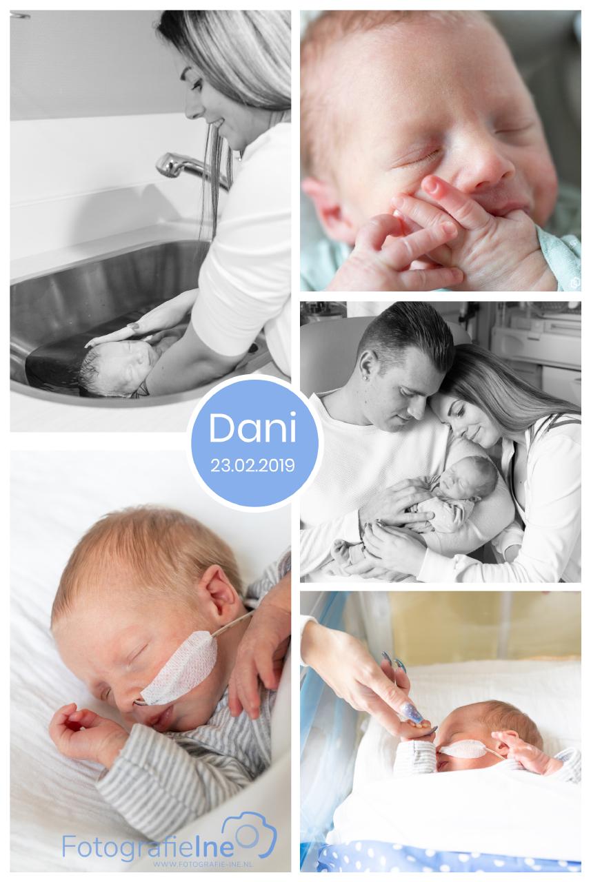 Early bird prematuur baby – fotoshoot ziekenhuis – collage Dani – fotografie Ine met logo