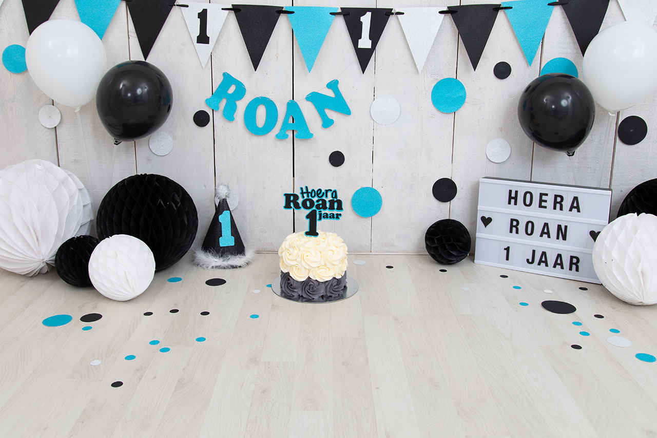 Fotografie Ine cakesmash blauw wit zwart Roan