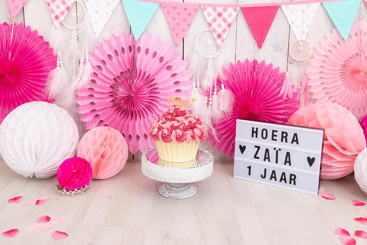 Fotografie Ine cakesmash fel roze cirkels slingers lief Zaia
