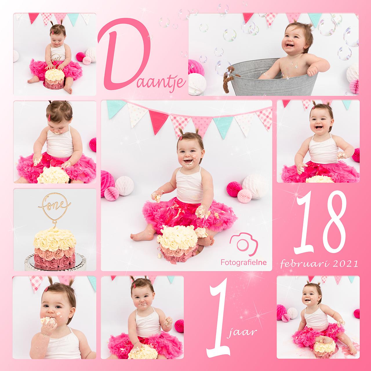 Fotografie Ine collage cakesmash Daantje met logo roze rustige achtergrond