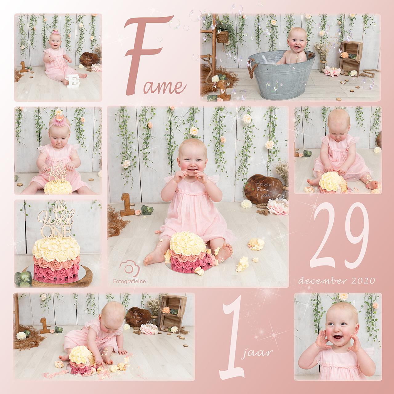 Fotografie Ine collage cakesmash Fame met logosite