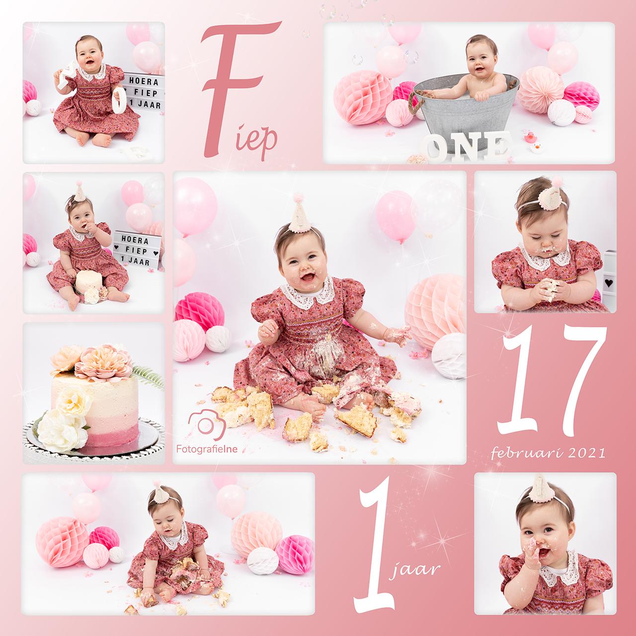 Fotografie Ine collage cakesmash Fiep roze rustige achtergrond Ine van Boerdonk
