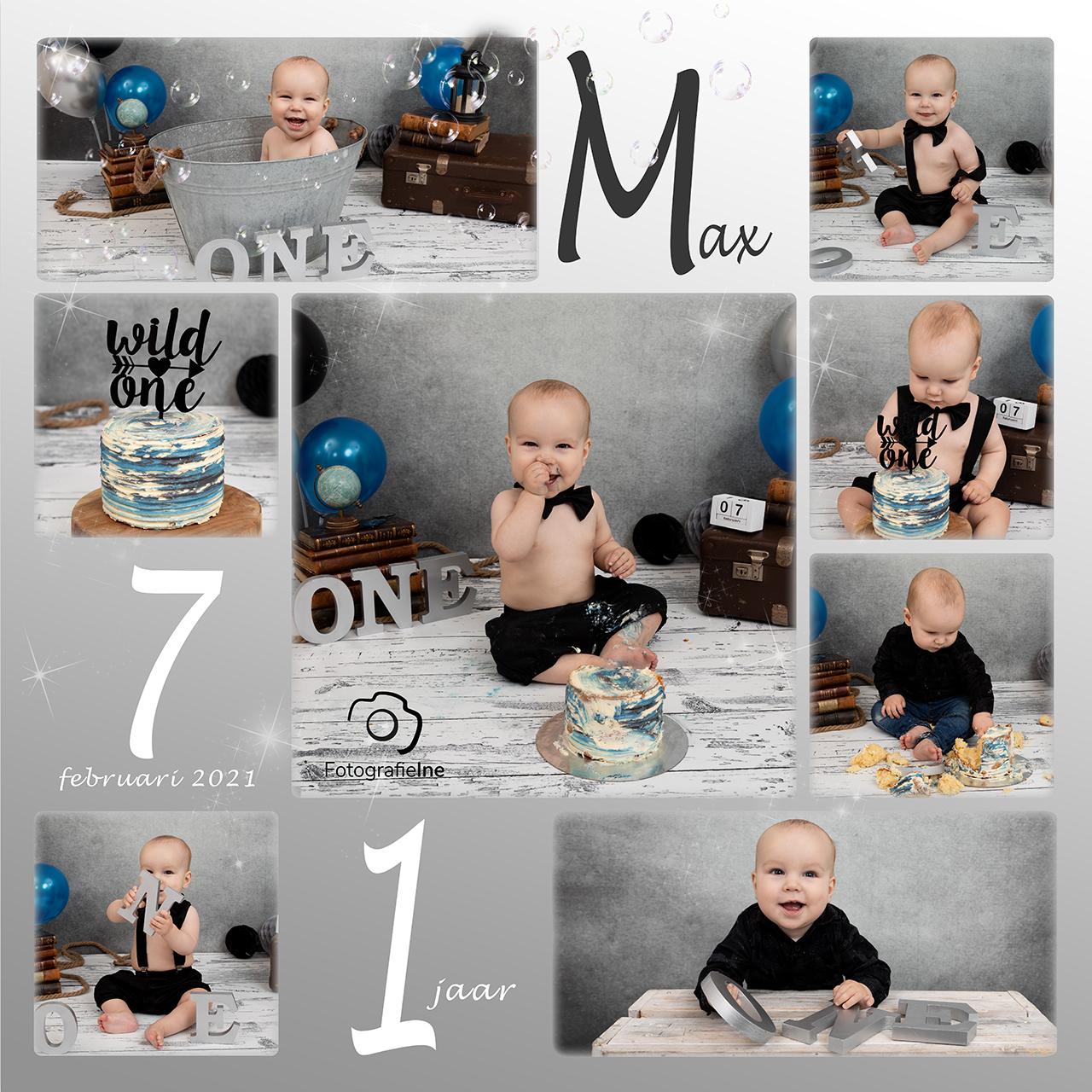 Fotografie Ine collage cakesmash Max zwart wit met badje Wild One