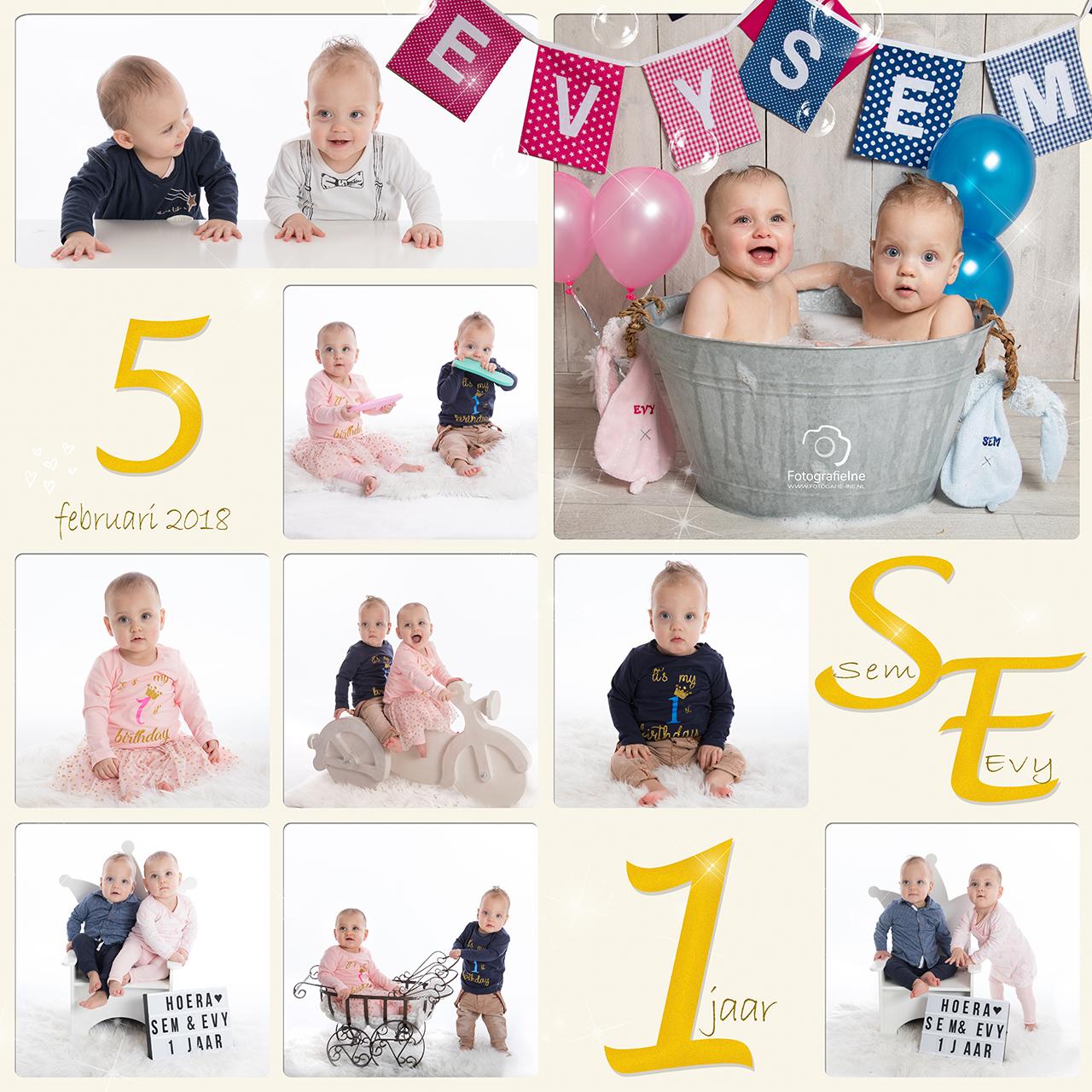 Fotografie Ine verjaardag fotoshoot 2-ling Evy en Sem