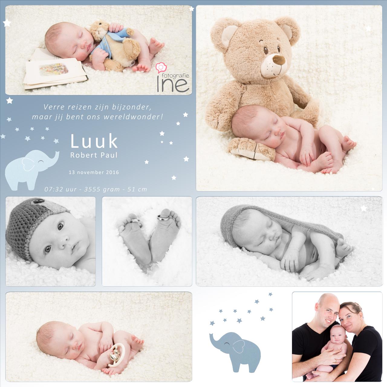 collage geboorte tegel losse vlakken luuk van Ginneke met logo