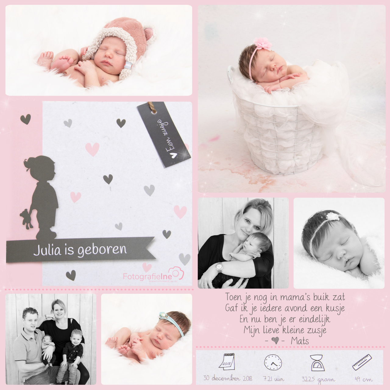 Fotografie Ine – collage newborn Julia