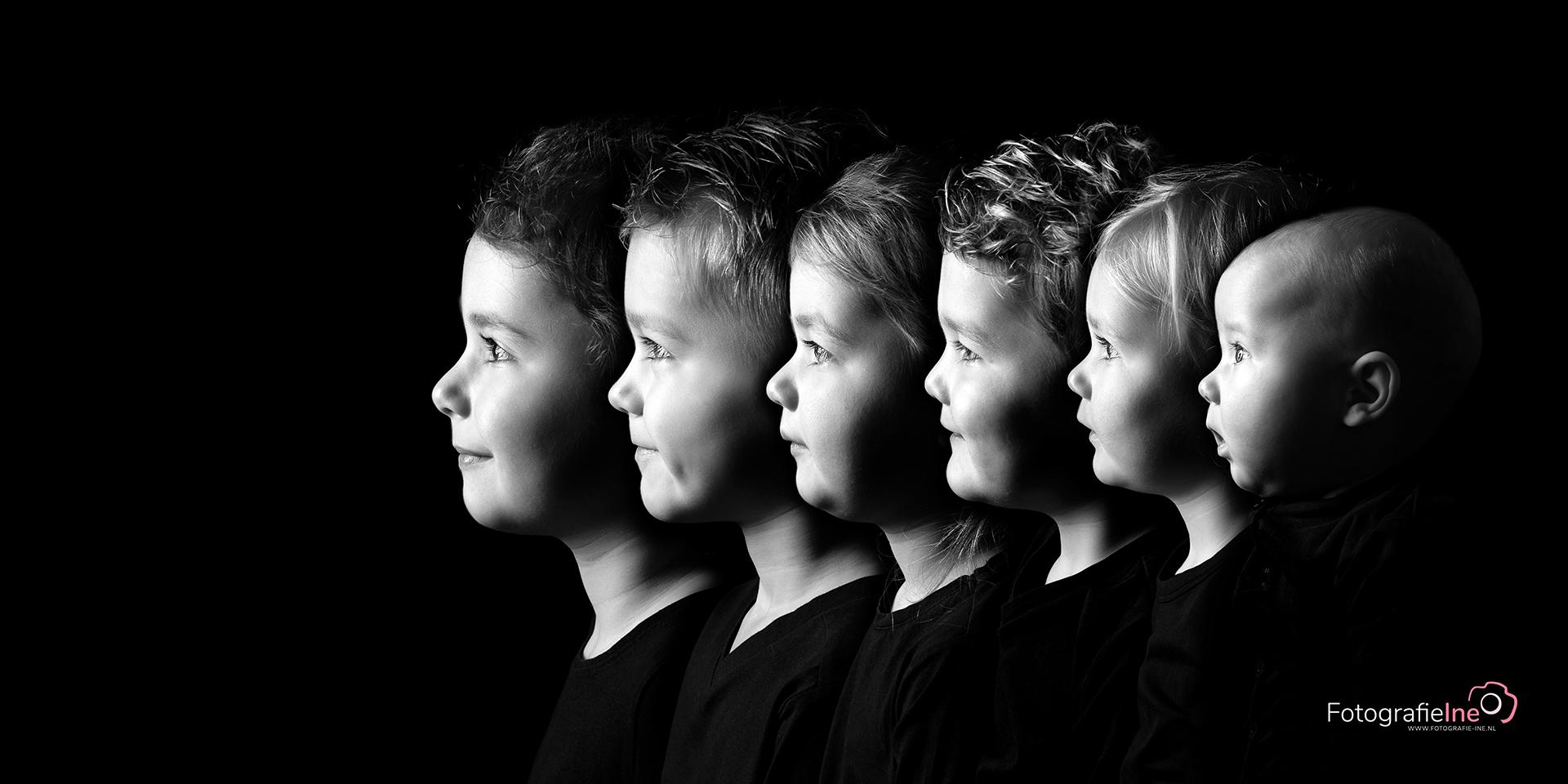 Fotografie Ine Collage 6 kleinkinderen zwart wit foto zij-zij foto site1