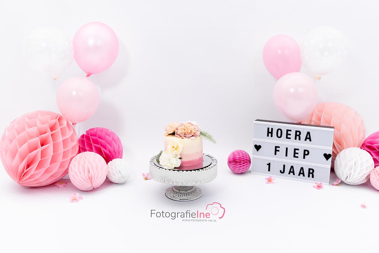 Fotografie Ine cakesmash achtergrond roze rustig Fiep ballonnen
