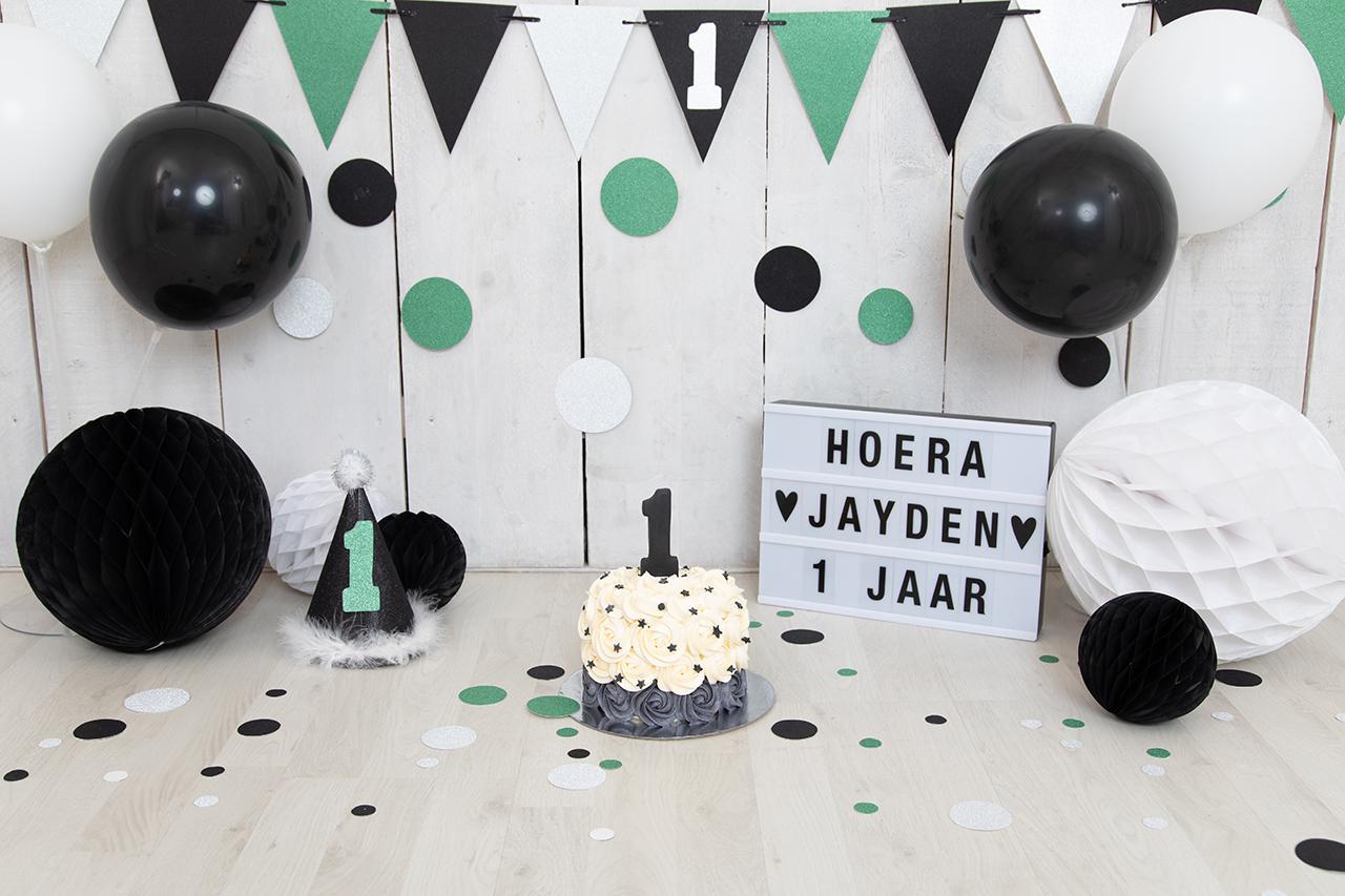 Fotografie Ine cakesmash groen zwart wit Jayden