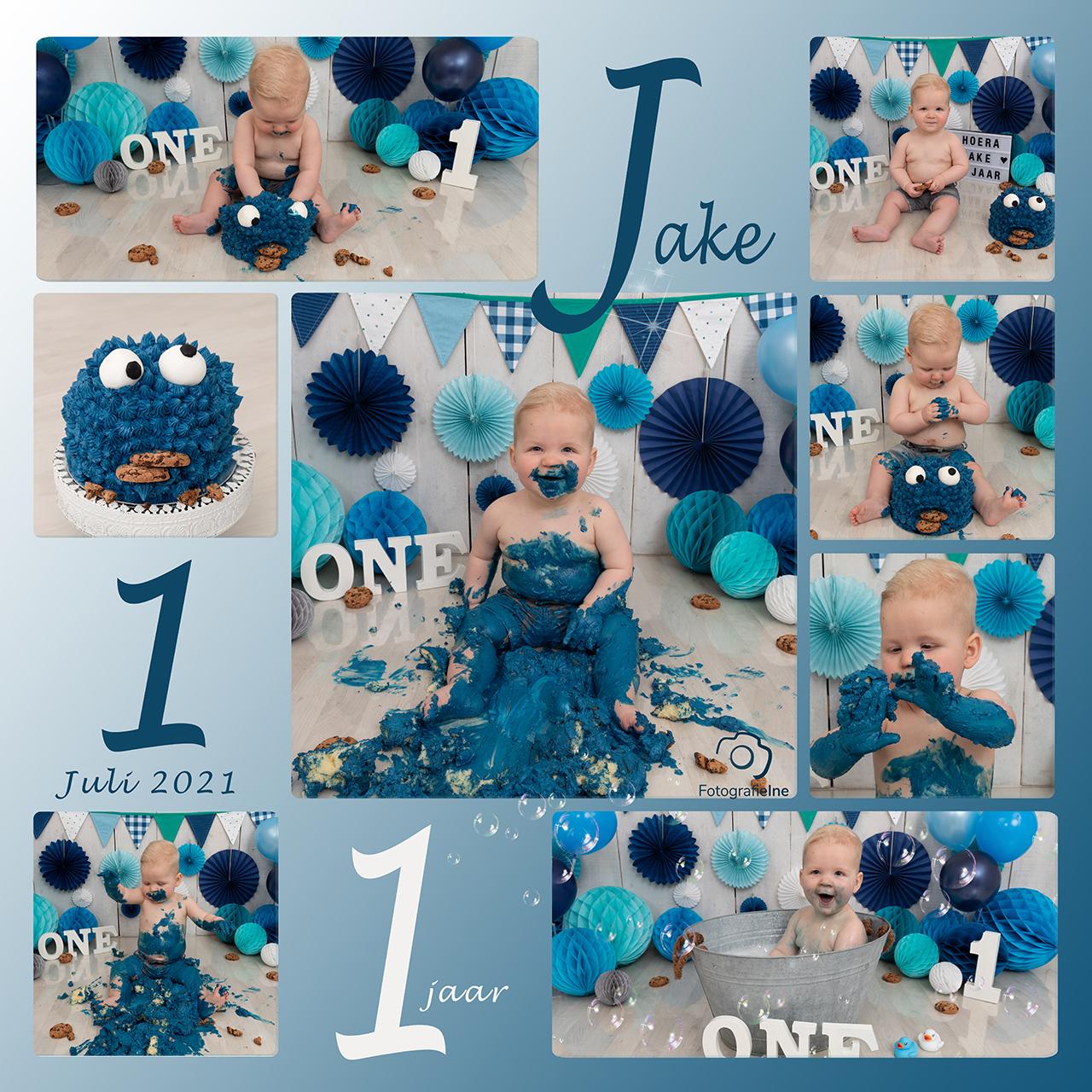 Fotografie Ine collage cakesmash Jake koekiemonster cookiemonster achtergrond blauw