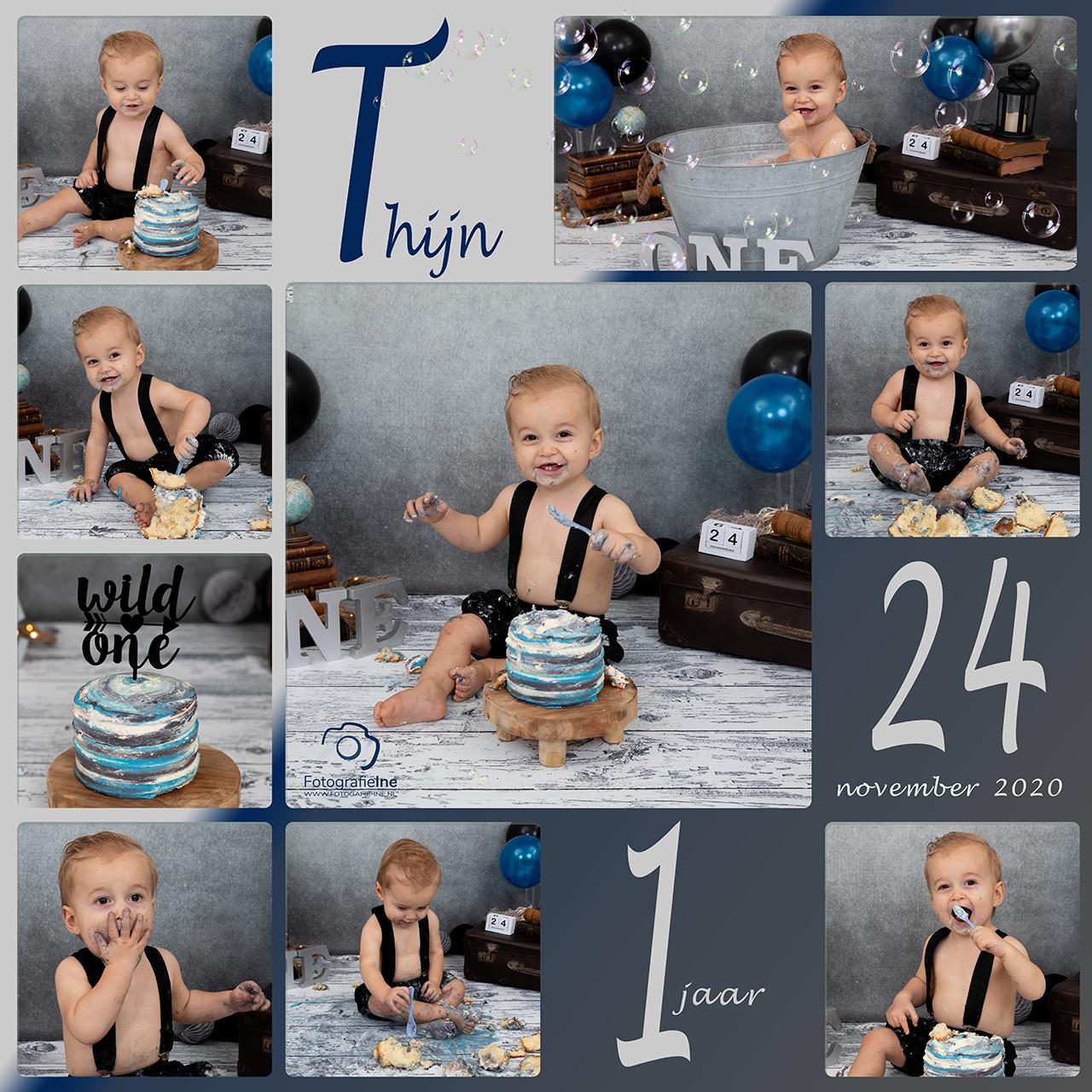 Fotografie Ine collage cakesmash Thijn eerste verjaardag cakesmashshoot site